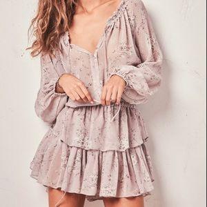 LoveShackFancy Popover Rose Silk Ruffle Mini Dress
